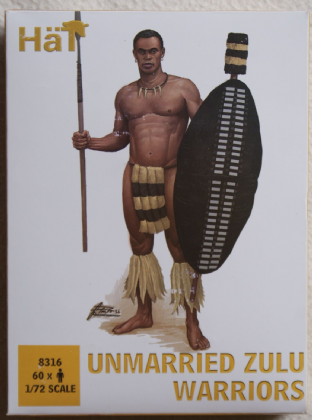 Hat 1/72 HAT8316 Unmarried Zulu Warriors (Colonial Wars)
